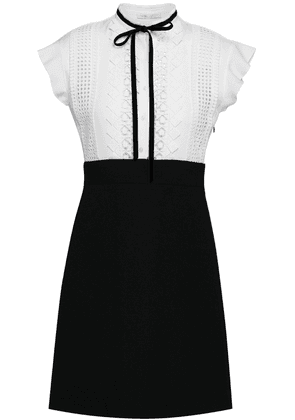Maje Velvet-trimmed Macramé-paneled Stretch-crepe Mini Dress Woman White Size 3