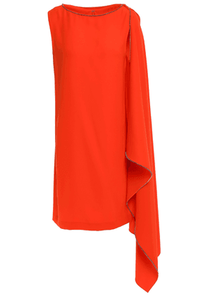Mcq Alexander Mcqueen Crystal-embellished Draped Cady Mini Dress Woman Tomato red Size 36