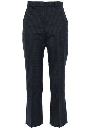 Sandro Cropped Checked Twill Bootcut Pants Woman Midnight blue Size 40