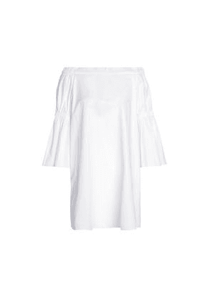 Tibi Off-the-shoulder Shirred Cotton-poplin Mini Dress Woman White Size 10