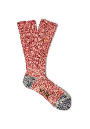 Anonymous Ism - Ribbed Mélange Cotton-blend Socks - Red