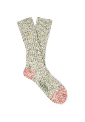 Anonymous Ism - Ribbed Mélange Cotton-blend Socks - Green