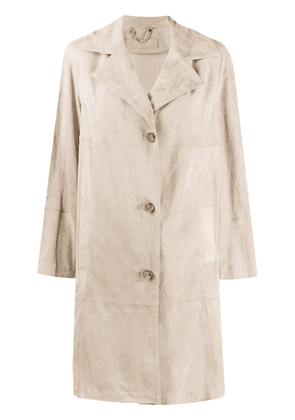 Desa 1972 single breasted suede coat - NEUTRALS