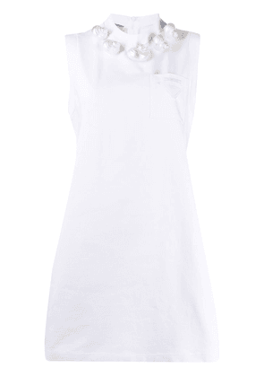 Prada seashell appliqué shift dress - White