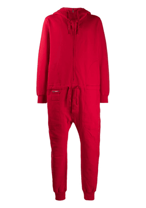 Katharine Hamnett London zip-through hooded jersey boiler suit - Red