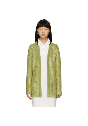 Gucci Yellow and Green Crystal Cardigan