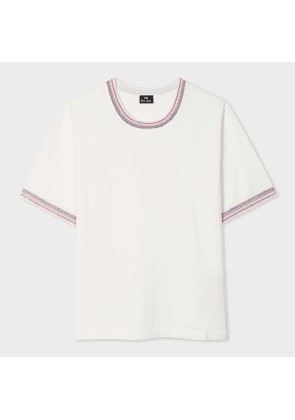Women's Cream Short-Sleeve Sweater With Stitching Trims