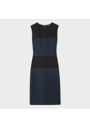 Women's Black And Navy Colour-Block Shift Dress