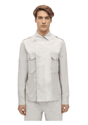 Double Breasted Cotton Poplin Shirt