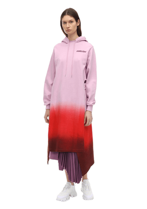 Hooded Logo Print Cotton Jersey Dress