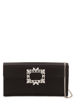 Trianon Satin Clutch W/ Crystal Buckle