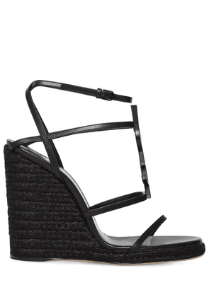 105mm Cassandra Leather Espadrille Wedge