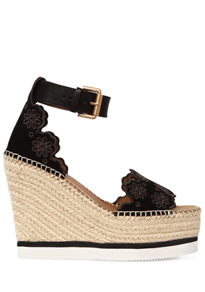 120mm Glyn Laser Cut Suede Wedges