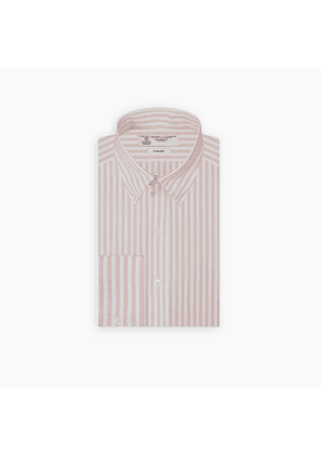 Weekend Fit Pink Stripe Cotton Shirt with Dorset Collar and.