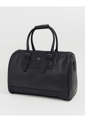 ASOS DESIGN holdall in black croc faux leather