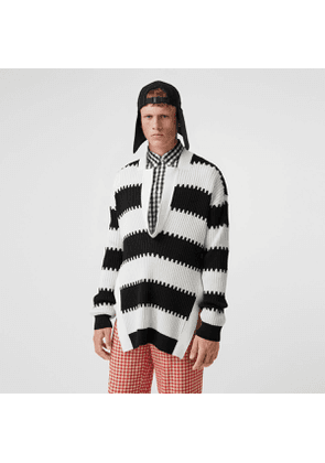 Burberry Side-slit Striped Rib Knit Wool Sweater, Black