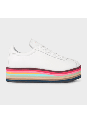 Women's White Leather 'Dusty' Trainers With 'Swirl' Platform