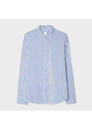 Women's Blue And White Pinstripe Shirt