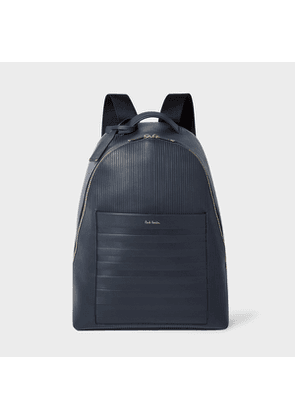 Navy Striped Emboss Leather Backpack