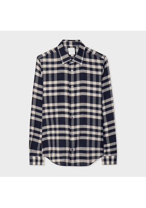 Men's Super Slim-Fit Navy Check Cotton Shirt