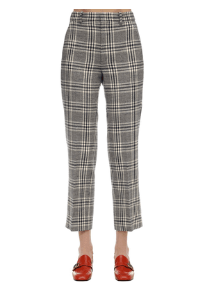 Cropped Wool Check Madras Pants
