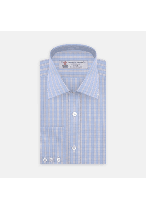 Blue and White Bold Check Shirt with T & A Collar and 3-Button Cuffs