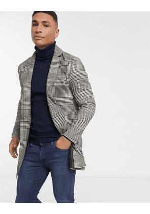 Brave Soul roberts overcoat in heritage check-Brown