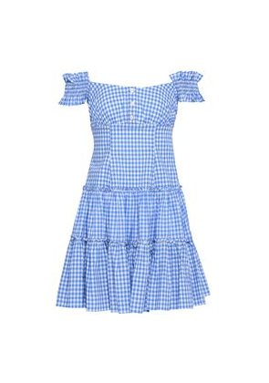 Caroline Constas Maria Off-the-shoulder Gingham Cotton-poplin Mini Dress Woman Light blue Size S