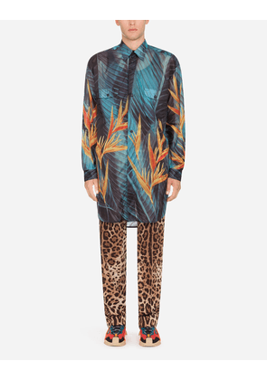 Dolce & Gabbana Collection - RIPSTOP SHIRT WITH BIRD OF PARADISE FLOWER PRINT FLORAL PRINT