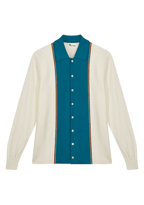 Cream and Cerulean Knitted Vintage Shirt