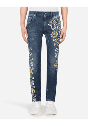 Dolce & Gabbana Collection - BLUE STRETCH SKINNY JEANS WITH MAIOLICA PRINT BLUE