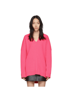 Balenciaga Pink Knit V-Neck Sweater