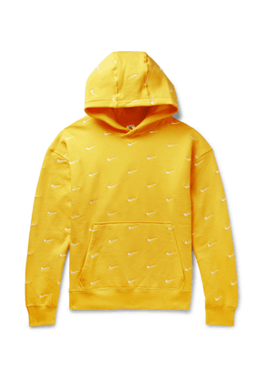 Nike - Logo-embroidered Fleece-back Cotton-blend Jersey Hoodie - Yellow