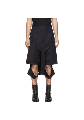 Maison Margiela Navy Wool Deconstructed Shorts