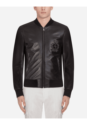 Dolce & Gabbana Jackets and Bombers - LEATHER JACKET WITH PATCH BLACK