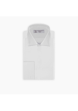Slim Fit White Marcella Cotton Dress Shirt with Regent Collar and.
