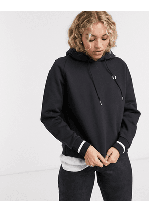 Fred Perry embroidered hoodie with hem logo-Black