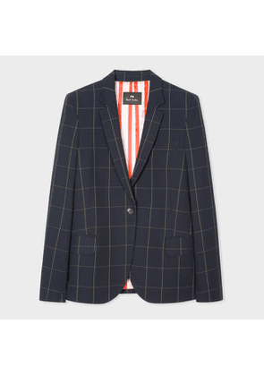Women's Dark Navy Windowpane Check One-Button Cotton Blazer