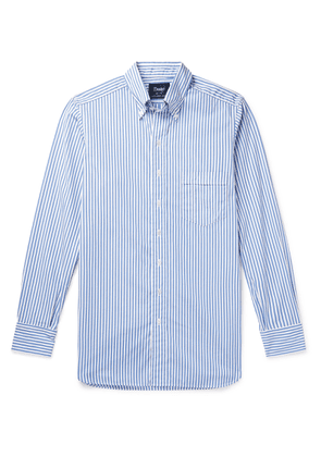Drake's - Button-down Collar Striped Cotton-poplin Shirt - Blue