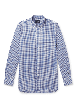 Drake's - Button-down Collar Gingham Cotton And Linen-blend Shirt - Blue