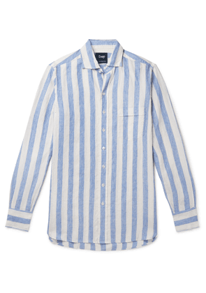 Drake's - Cutaway-collar Striped Linen Shirt - Blue