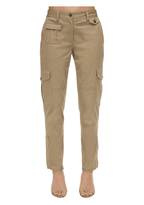 High Waist Stretch Gabardine Cargo Pants