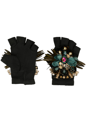Biyan embellished padded gloves - Black