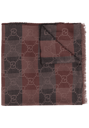Gucci Double G check-pattern scarf - Brown