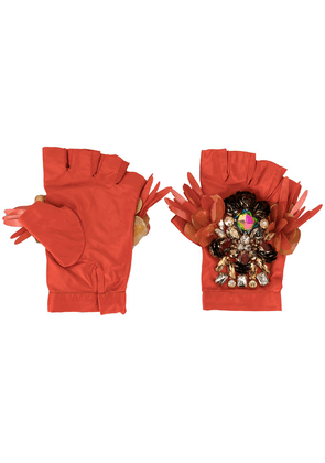 Biyan embellished padded gloves - ORANGE