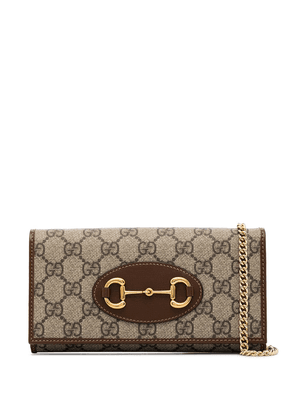 Gucci Horsebit GG Supreme crossbody bag - NEUTRALS