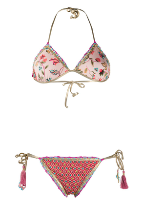 Anjuna embroidered floral print swim suit - PINK