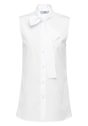 Prada sleeveless pussy-bow blouse - White
