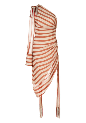Monse one shoulder striped gathered dress - RUST/ECRU