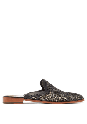 Casablanca 1942 - Backless Raffia Loafers - Mens - Black Multi